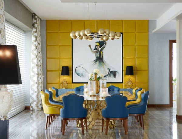 blue dining room 10 Stylish Blue Dining Room Ideas Emirates Hills villa 4 HR 600x460