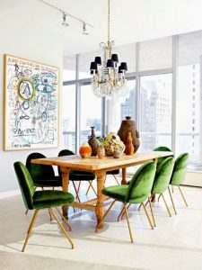 green dining room chairs dining room chairs 10 Incredible Dining Room Chairs with Beautiful Colors dining room decorating ideas by nate berkus 6 1 225x300